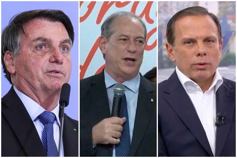 Bolsonaro, Ciro Gomes e João Doria - Fotos Isaac Nóbrega-PR Rede Globo-Reprodução PDT-Divulgação