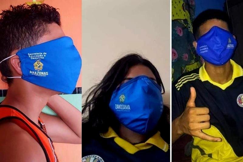 Máscaras fornecidas aos alunos não se ajustam bem ao rosto (Foto: Reprodução)