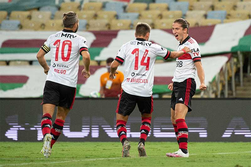 Felipe Luís comemora gol contra o Flu (Foto: Alexandre Vidal/Flamengo)