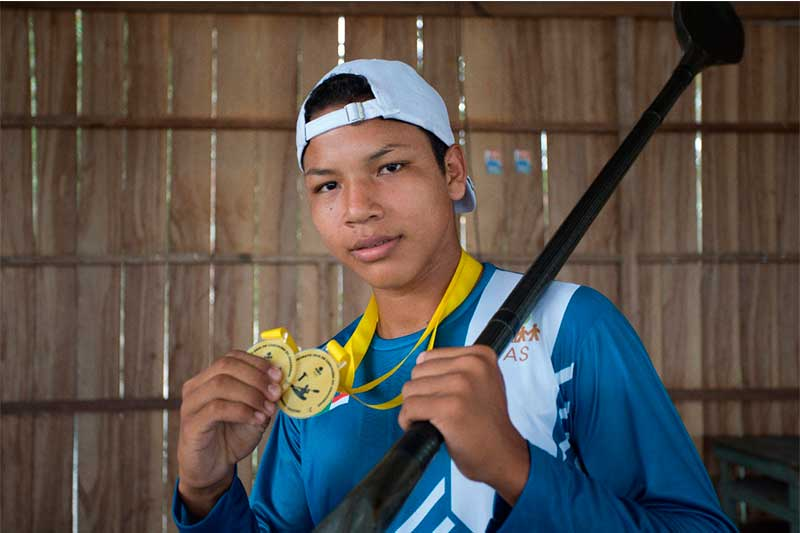 Tailon Pontes de Araújo atingiu marca extraordinária na canoagem (Foto: Bruno Kelly/FAS/Divulgação)