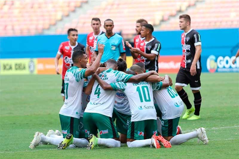 Jogadores do Manaus FC comemoram gol contra o Ferroviário (Foto: Ismael Monteiro MFC/Divulgação)