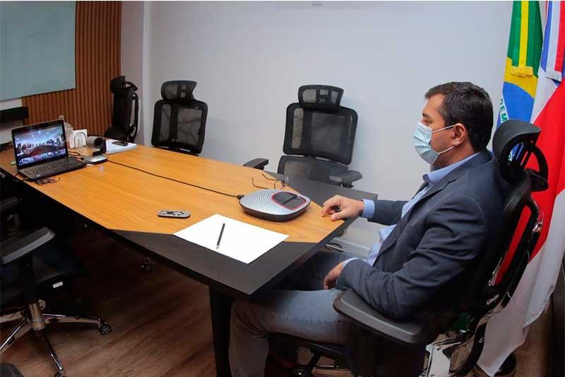 Wilson Lima em videoconferência (Foto: Maurílio Rodrigues/Secom)