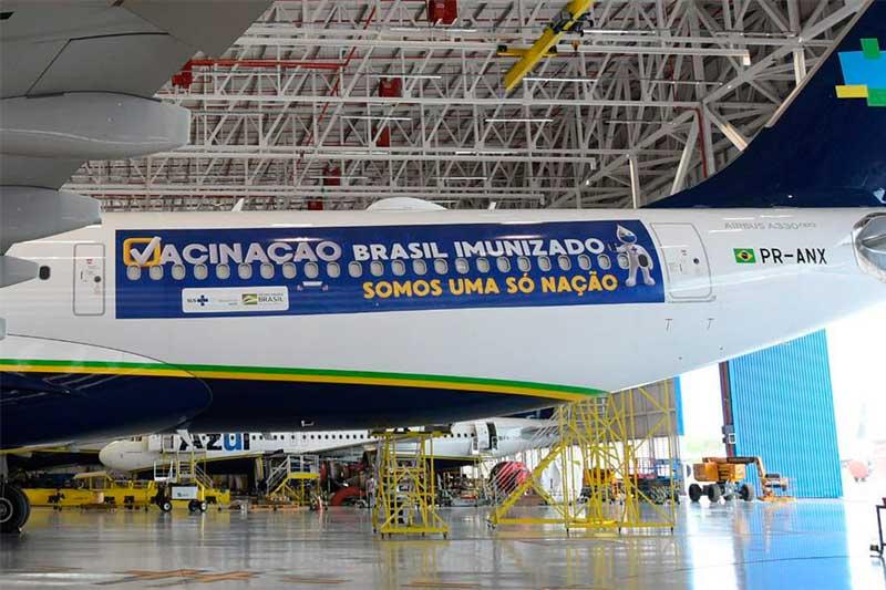 Avião está pronto para buscar vacina na Índia (Foto: Ministério da Saúde/Divulgação)