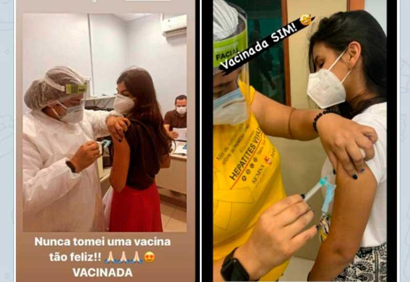 Médicas publicaram em redes sociais momento da vacinação (Foto: Instagram/Reprodução)