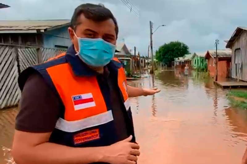 Governador Wilson Lima em Eirunepé: situação de emergência (Fot: acebook/Reprodução)