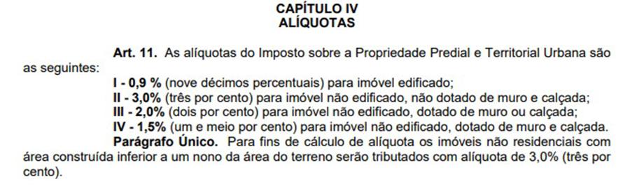 Capítulo da lei de 2011 que definiu as alíquotas do IPTUCapítulo da lei de 2011 que definiu as alíquotas do IPTU