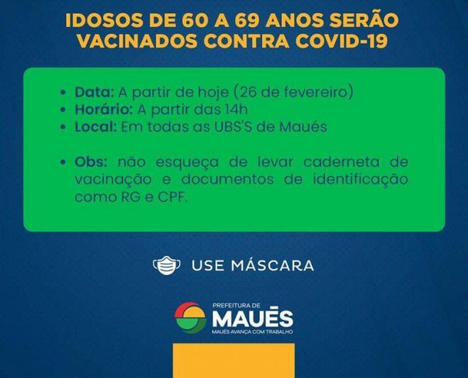 Aviso sobre vacinação em Maués (Foto: reprodução)