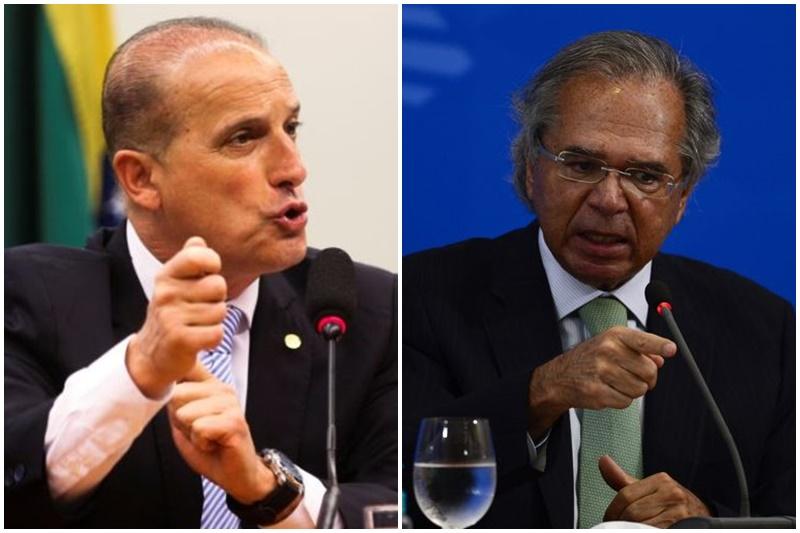 Ministros Onix Lorenzino e Paulo Guedes: disputa na privatização (Fotos: Antonio Cruz e Marcello Casal Jr/ABr)