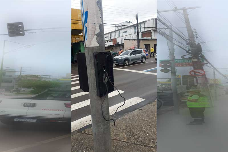 Caixa com botão de sinalização de parada foi destruída (Foto: IMMU/Divulgação)