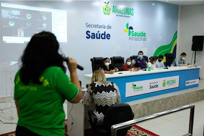 Mesa de negociação reúne governo e trabalhadores (Foto: EES-AM/Divulgação)