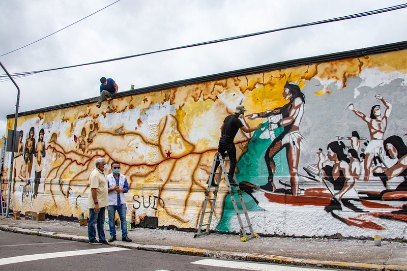 Mural sobre a presença indígena será destaque em memorial (Foto: Oliveira Júnior / Manauscult)