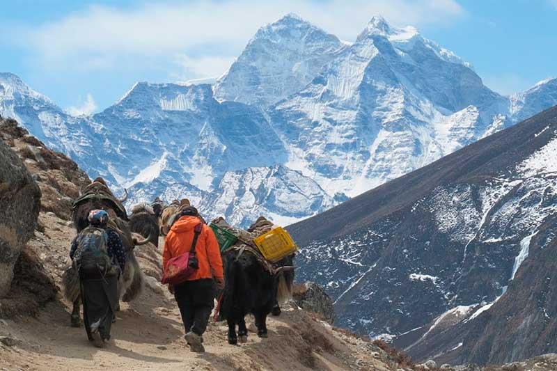 Alpinistas a caminho do Everest: barreira sanitária no topo do mundo (Foto: YouTube/Reprodução)