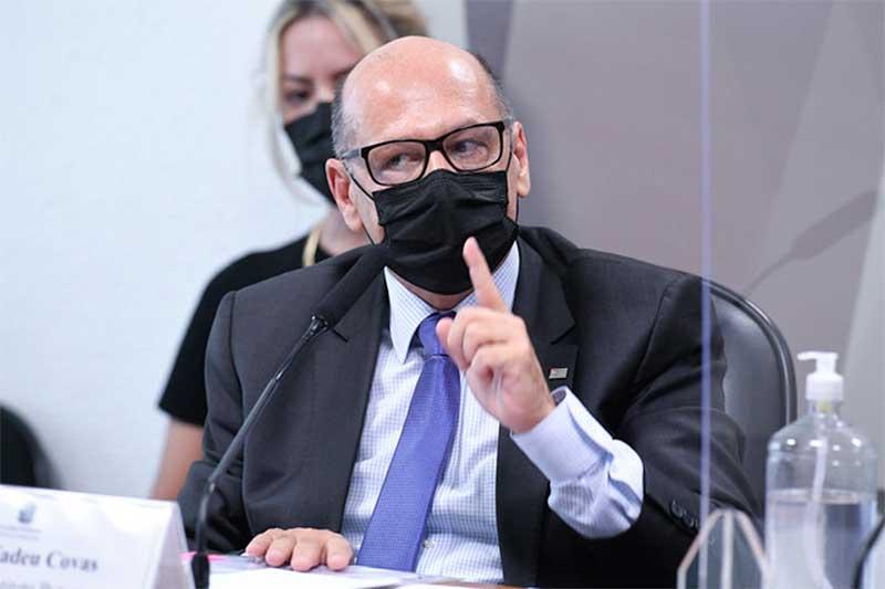 Dimas Covas depõe na CPI da Covid (Foto: Jefferson Rudy/Agência Senado)