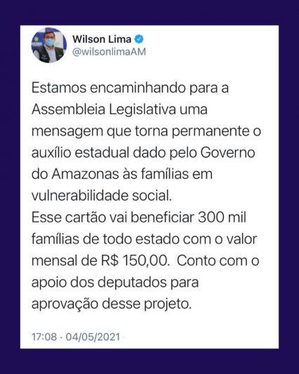 Wilson Lima anuncia auxilio permanente