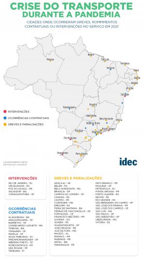 Cidades onde ocorreram greves, rompimentos contratuais ou intervenções no serviço em 2021 (Infográfico: Divulgação/Idec)
