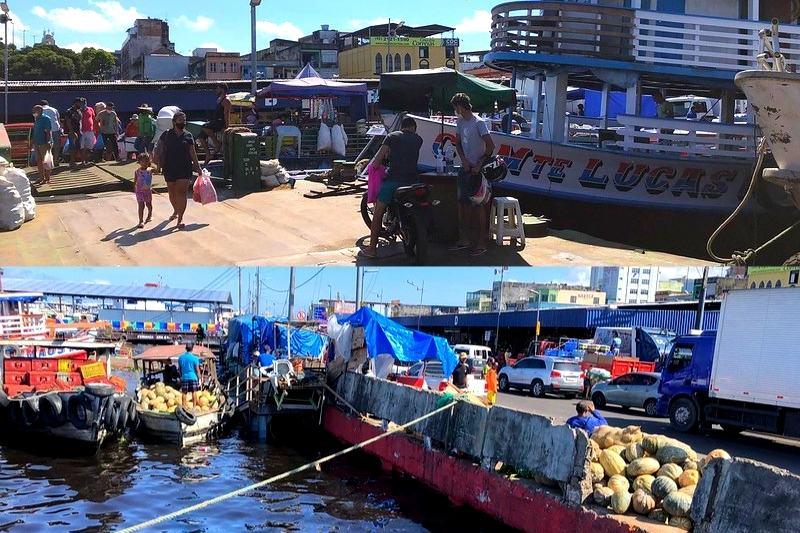 Embarcações se aproximam de calçadas no Porto da Manaus Moderna (Foto: Murilo Rodrigues/ATUAL)