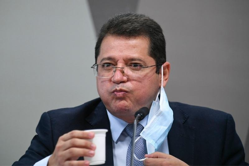Ex-secretário da Saúde, Marcellus Campelo, depõe à CPI da Covid no Senado (Foto: Edilson Rodrigues/Agência Senado)