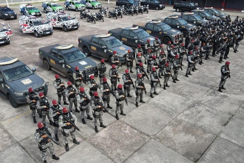 Força Nacional começa a atuar em Manaus na manhã desta quinta-feira, 10 (Foto: Divulgação/SSP-AM)
