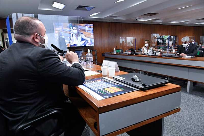 Deputado Fausto Junior depôs na CPI da Covid (Foto: Waldemir Barreto/Agência Senado)