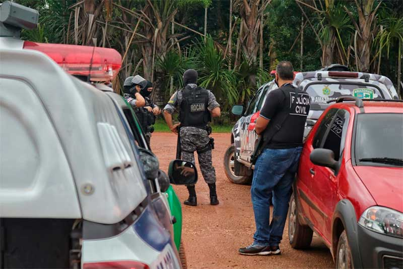 Operação reúne policiais civis e militares no Careiro nesta manhã (Foto: Carlos Soares/SSP-AM)