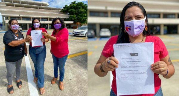 Anne Moura e integrantes do PT apresentaram ação na Justiça Eleitoral (Foto: Divulgação)