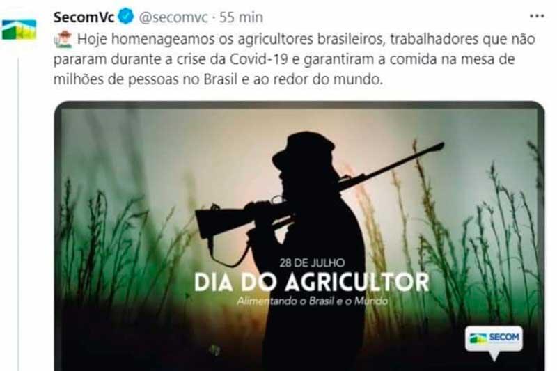 Imagem usada pela Secom para homenagear Dia do Agricultor (Foto: Twitter/Reprodução)