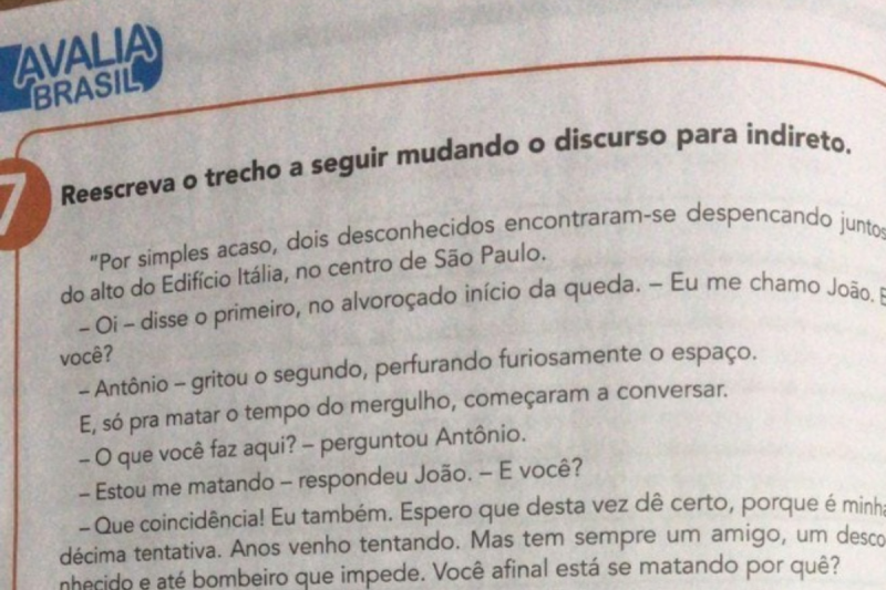Atividade em livro didático em Manaus usa texto com diálogo de suicidas (Foto Reprodução)