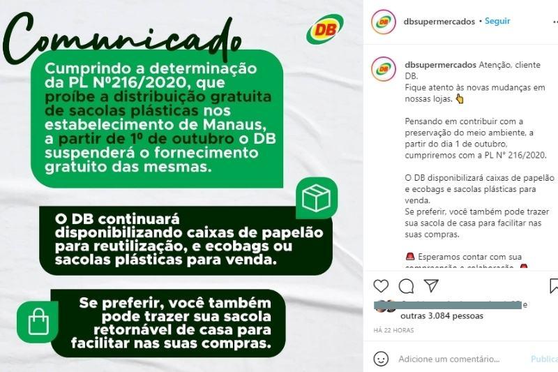 David Almeida sanciona lei que proíbe distribuição de sacolas plásticas aos clientes em Manaus e começa a valer dia 30