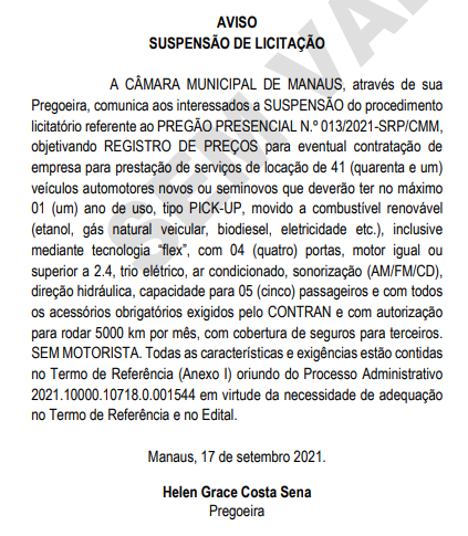 Câmara suspende licitação para aluguel de picapes (Foto: Reprodução/Diário CMM)